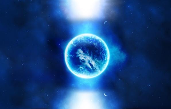 Картинка космос, свет, луна, планеты, звёзды, space, light, moon, stars, planets, 2560x1600