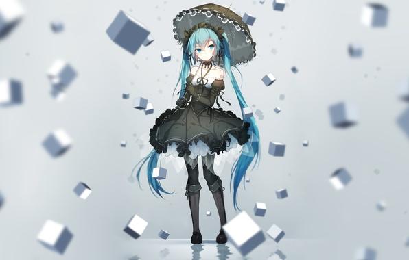Картинка девушка, кубики, зонт, аниме, арт, vocaloid, hatsune miku, bai yemeng