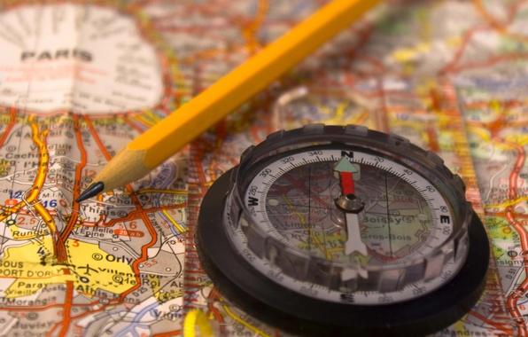 Картинка карта, размытость, карандаш, путешествие, компас, Франции, боке.