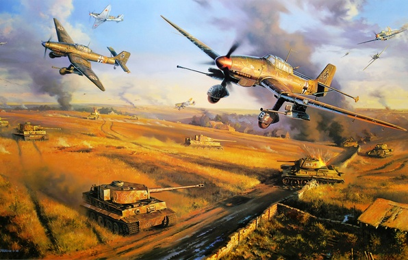 Картинка ice, war, art, army, painting, cold, drawing, ww2, dogfight, german aircraft, russian fighter, panzer, tiger …