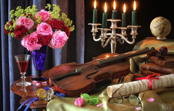 Картинка ноты, скрипка, часы, бокал, книги, розы, букет, свечи, очки, натюрморт, глобус