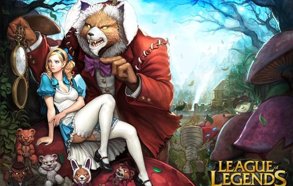 Картинка девушка, часы, кролик, медведь, арт, алиса, league of legends, annie, shen