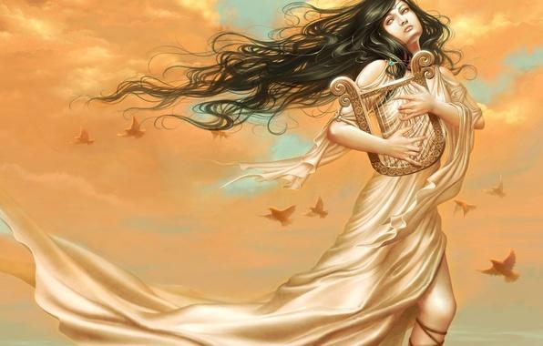 Картинка небо, девушка, платье, арфа