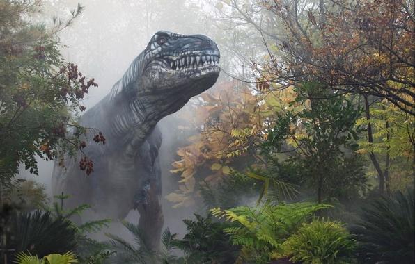 Картинка осень, лес, туман, динозавр