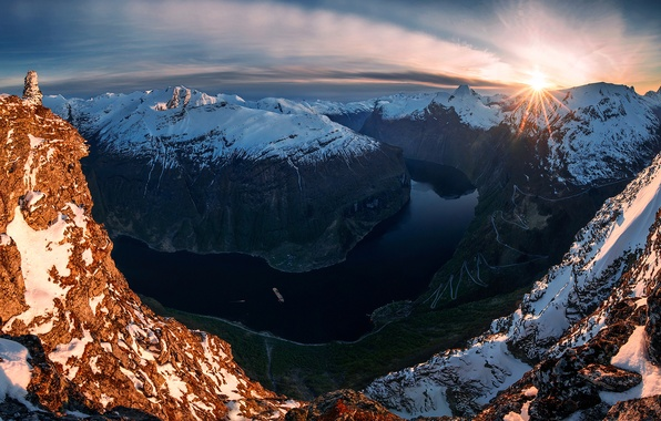Картинка река, скалы, поворот, Норвегия, The Turn