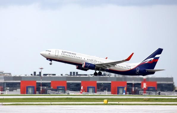 Картинка крылья, турбина, аэропорт, Boeing, самолёт, Боинг, взлёт, Аэрофлот, пассажирский, 800, B-737