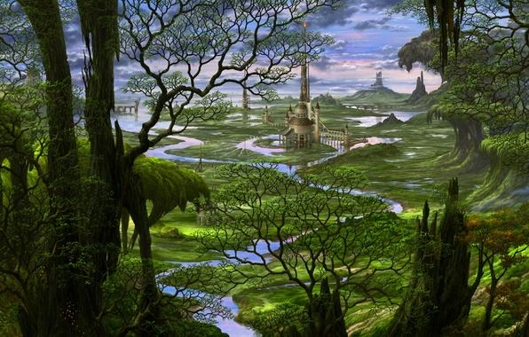 Картинка лес, деревья, река, замок, сказка, Япония, фэнтези, арт, Japan, fantasy, landscape, castle, fairytales, Казамаса Учио, …