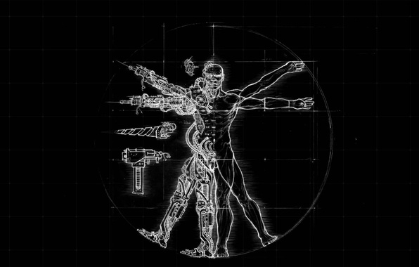 Картинка черный, рисунок, человек, робот, леонардо да винчи, витрувианский человек