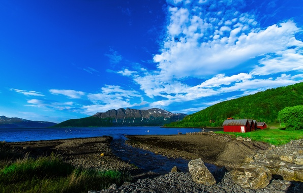 Картинка лес, небо, облака, горы, природа, озеро, камни, дома, домик, норвегия, norway