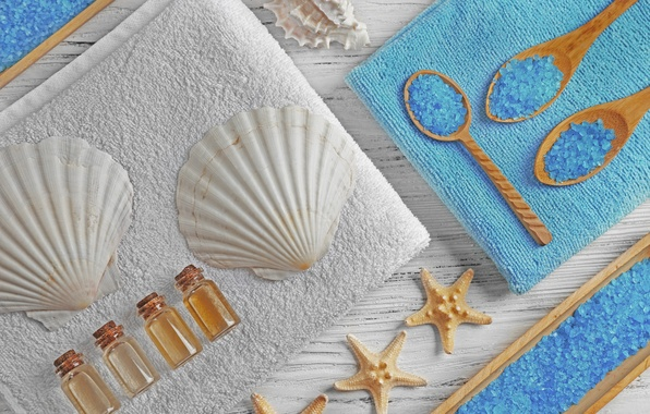 Картинка relax, ракушки, спа, still life, соль, spa, salt, seashells, wellness