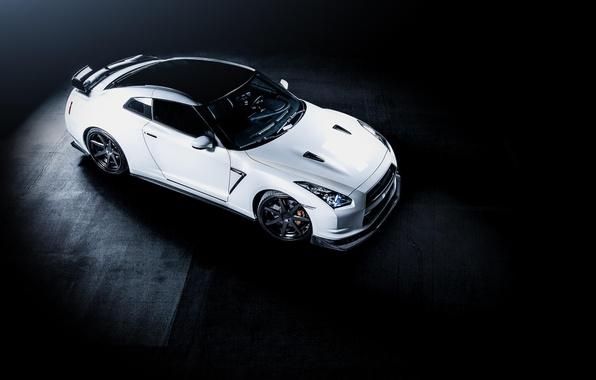 Картинка белый, Nissan, white, GT-R, ниссан, R35