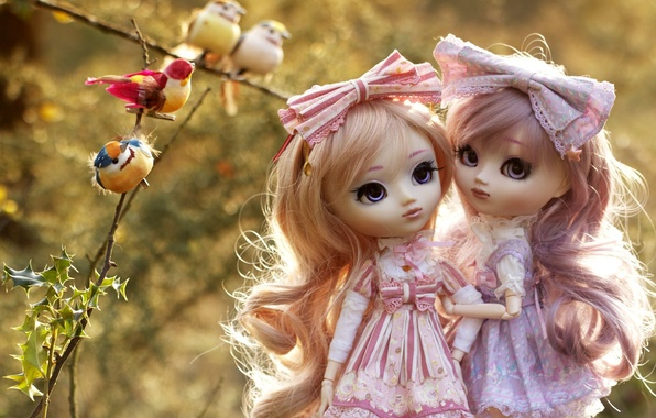 Картинка птицы, ветки, девочки, игрушки, куклы, боке, платья, банты