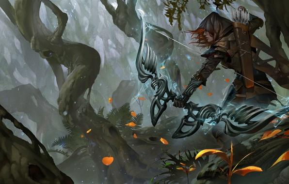 Картинка лес, девушка, лук, лучница, фэнтези, капюшон, рыжая, стрелы, лучник