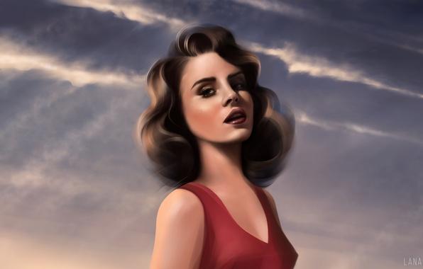 Картинка рисунок, певица, Lana Del Rey, Лана Дель Рей