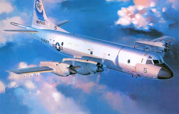 Картинка небо, облака, рисунок, арт, самолёт, Lockheed, Орион, Orion, ВМС США, патрульный, Локхид, береговой, P-3