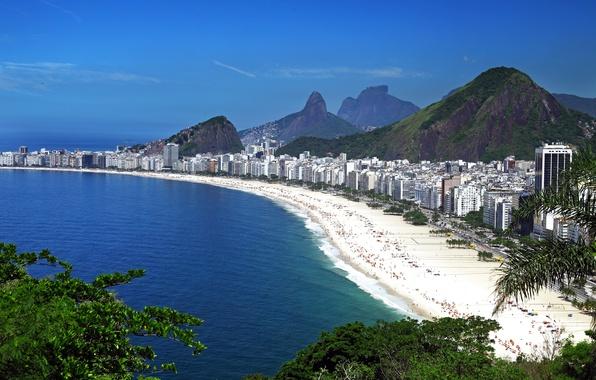 Картинка море, пляж, небо, горы, голубое, побережье, дома, панорама, Бразилия, вид сверху, Рио-де-Жанейро, Rio de Janeiro