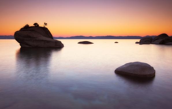 Картинка скала, озеро, рассвет, Lake Tahoe, Bonsai Rock