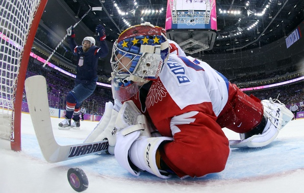 Картинка USA, United States, Russia, games, Olympic, goal, 2014, Hockey, Sochi, Russian Federation, Joe Pavelski, Bobrovsky, …