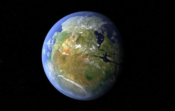 Картинка звезды, поверхность, океан, планета, Марс, материк