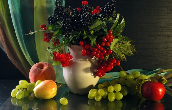 Картинка ягоды, яблоки, яблоко, виноград, ваза, фрукты, натюрморт, персик