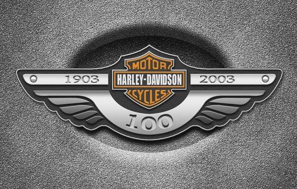 Картинка металл, логотип, Harley Davidson