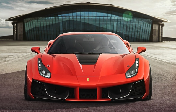 Картинка Ferrari, Red, GTB, Design, Front, Supercar, 2015, 488