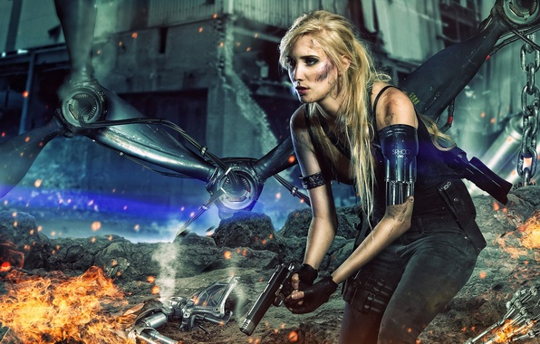 Картинка future, silver, fire, red, gun, white, black, android, woman, yellow, machine, rocks, terminator, blonde, gray, ...
