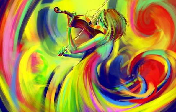 Обои картинки фото рисунок, цвета, радуги, скрипка, смычок