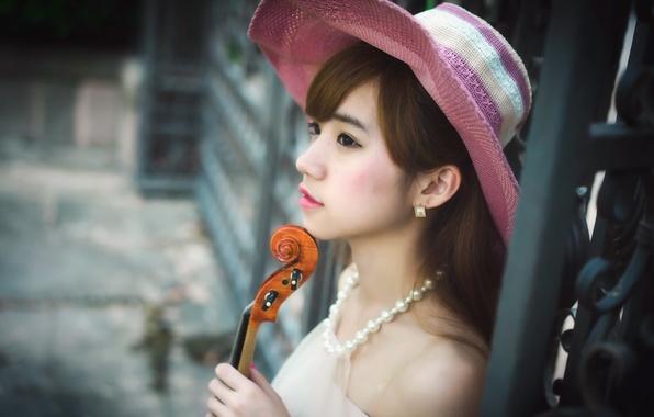 Фото обои азиатка, музыка, скрипка, девушка