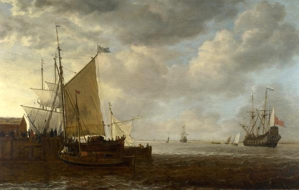 Картинка море, небо, облака, пейзаж, люди, лодка, корабль, парусник, картина, причал
