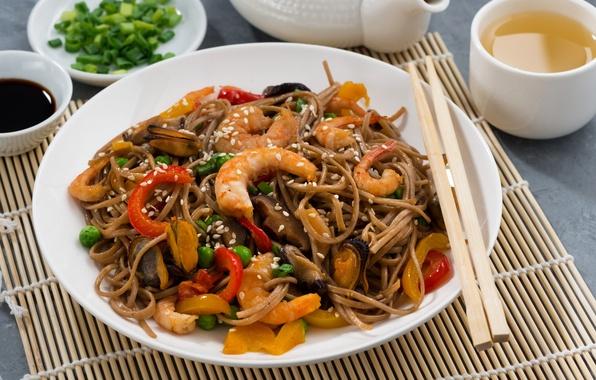 Картинка горох, перец, соус, креветки, морепродукты, мидии, паста