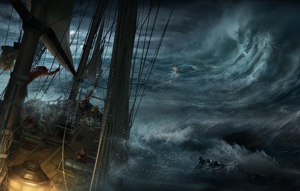 Картинка море, волны, обломки, шторм, лодка, корабль, арт, кораблекрушение, Max Qin