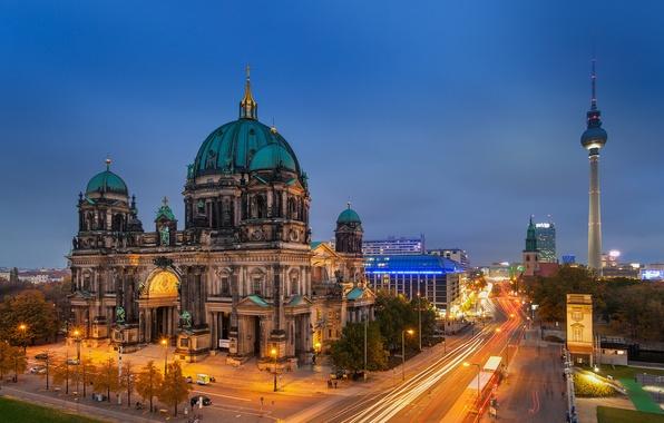 Картинка дорога, свет, вечер, выдержка, Германия, Germany, Берлин, Berlin, Берлинский кафедральный собор, Berliner Dom