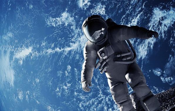 Картинка луна, планета, космонавт, скафандр, Земля, эффект, астронавт, походка