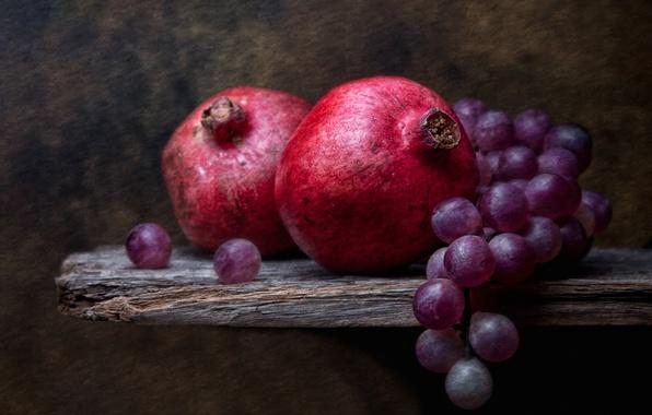 Фото обои натюрморт, Grapes and Pomegranates, виноград, гранаты