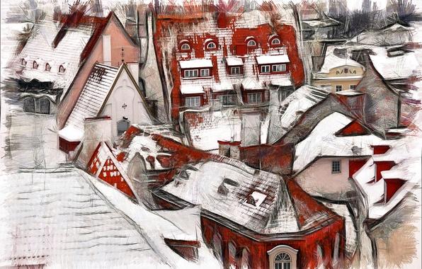 Картинка город, дома, крыши, Tallinn