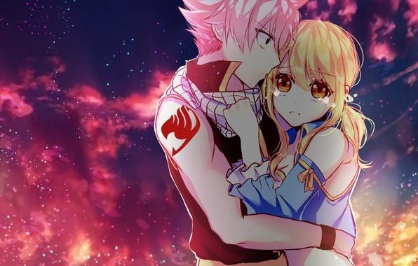 Картинка небо, девушка, облака, аниме, слезы, арт, пара, парень, двое, fairy tail, сказка о хвосте феи, …