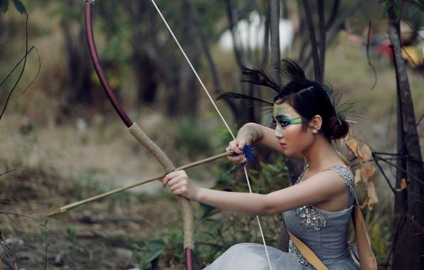Картинка лес, лицо, макияж, лук, стрела, азиатка