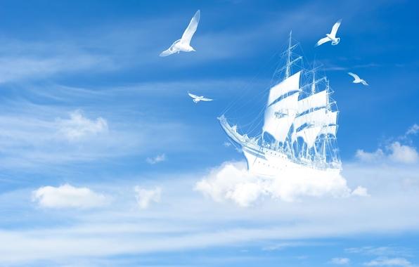 Картинка белый, небо, облака, пейзаж, птицы, фон, голубой, widescreen, птица, обои, корабль, яхта, wallpaper, судно, широкоформатные, …