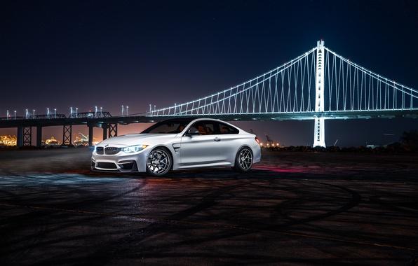 Картинка BMW, City, Car, Bridge, White, Collection, Aristo, F82, Ligth, Nigth