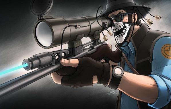 Картинка шляпа, очки, снайпер, прицел, винтовка, платок, team fortress 2, sniper, sovereign, tf 2