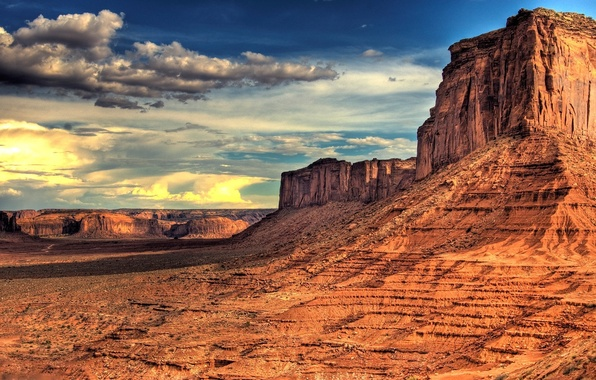 Картинка небо, облака, пейзаж, горы, скалы, пустыня, америка, mountains, view, clouds, landscapes