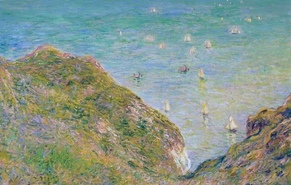 Картинка море, пейзаж, картина, лодки, Клод Моне, Вид со Скалы в Пурвиле. Ясная Погода