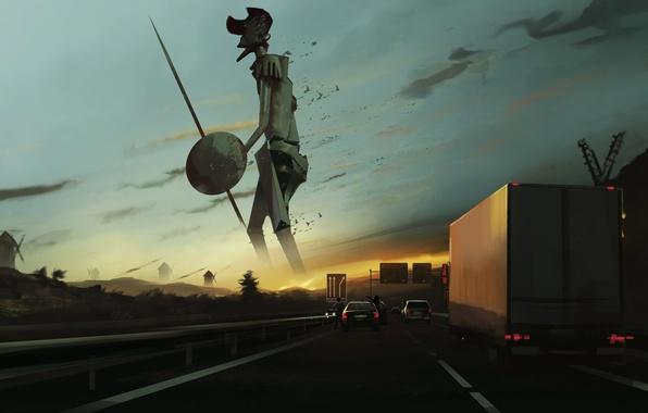 Картинка дорога, закат, машины, люди, удивление, арт, гигант, мельницы, копье, щит