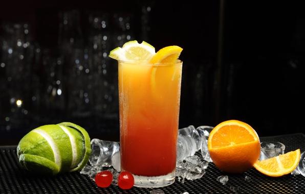 Картинка лед, вишня, стакан, апельсин, сок, коктейль, лайм, цитрусы, флорида