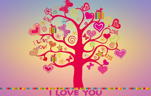 Картинка любовь, дерево, colorful, сердечки, love, I love you, butterfly, background, tree, romantic, hearts, sweet