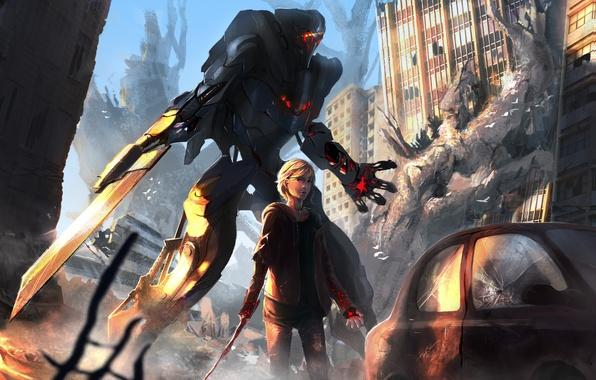 Картинка машина, девушка, город, оружие, робот, меч, арт, руины, меха