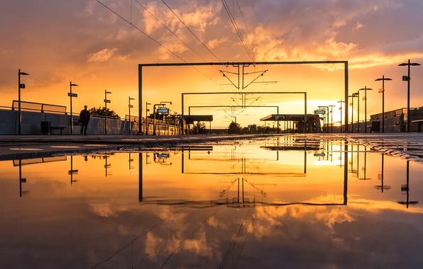 Картинка twilight, sunset, station, man, dusk, reflection, pond, Denmark, Copenhagen, power line