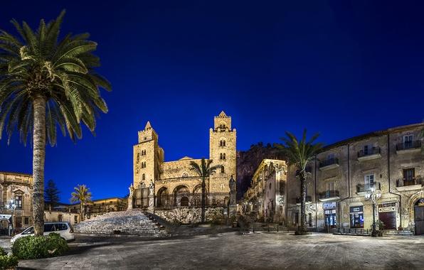 Картинка ночь, огни, пальмы, фонари, Италия, архитектура, Sicily, Cefalu