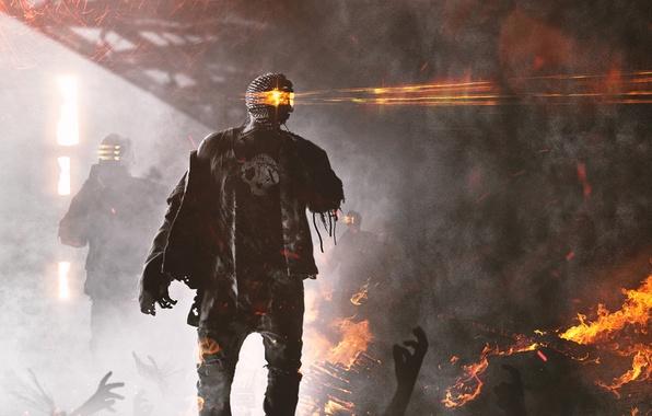 Картинка смерть, фантастика, огонь, робот, разрушение, киборг, art, zombots